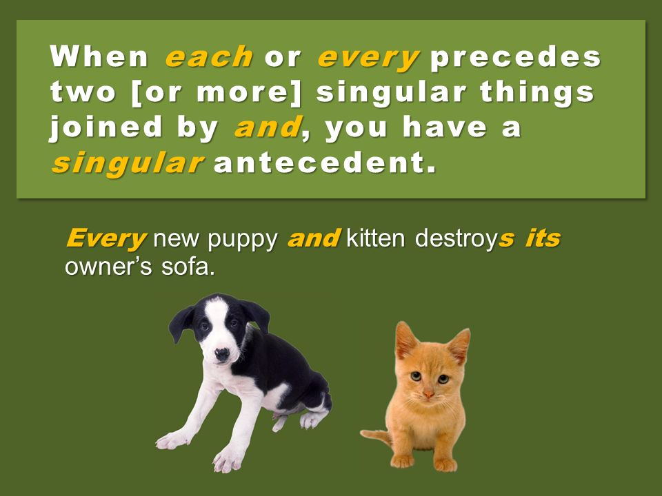 When each or every precedes two [or more] singular things joined by and, you have a singular antecedent.